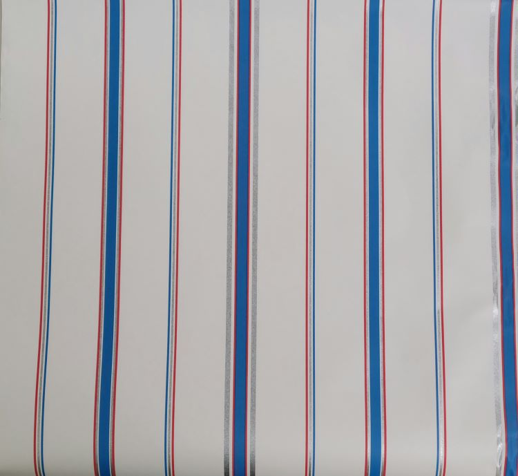 Andover White with Blue, Red, Silver Stripes Wallpaper - 341-35826