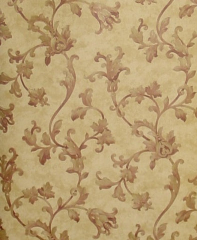 Fine Decor Cream/Burgundy Acanthus Scroll Wallpaper - 43322