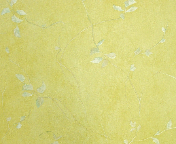 Westchester Prints Yellow Textured Vinyl Faux With Vines Wallpaper