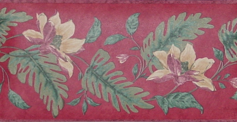 S.A. Maxwell Tropical Leaves & Flowers Wallpaper Border - 7228-260B