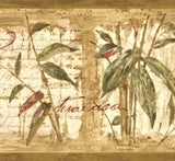 Brewster Brown, Green, Burgundy Bamboo Stalks Wallpaper Border - 80B64171