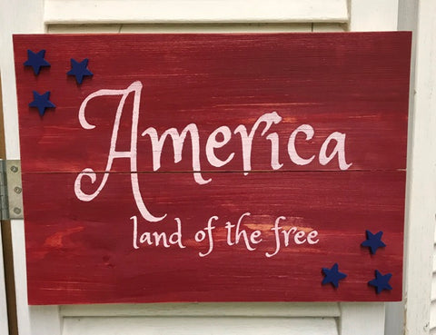 """America land of the free"" w/Stars on Red Distressed Wooden Sign - 41218"