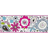 York Doodlerific Floral Wallpaper Border - BS5415B