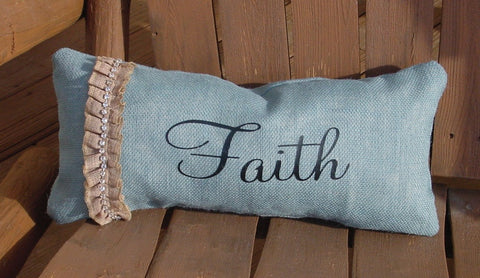 """Faith"" Rectangle Blue Burlap Pillow w/burlap Ribbon w/stones - 11817"