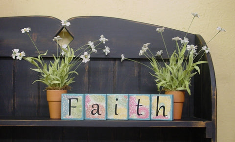 """Faith"" Ocean Blue Distressed Wooden Blocks  - Fth1"
