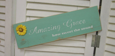 """Amazing Grace, how seet the sound"" Distressed Wood Sign - 5081"