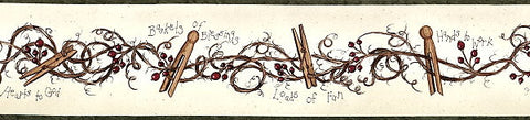 Chesapeake Clothespins & Rose hips Wallpaper Border - FAM65042B