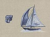 Brewster Sail Boat & Shells (taupe, blue) Wallpaper - FD59609