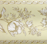 Brewster Light Yellow Floral Satin Wallpaper Border - FDB06944