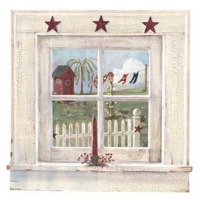 Folk Heart II Outhouse Window Mural - FK3994M