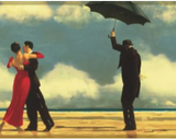 York Umbrellas on Beach by Jack Vettriano Wallpaper Border - FR5101B