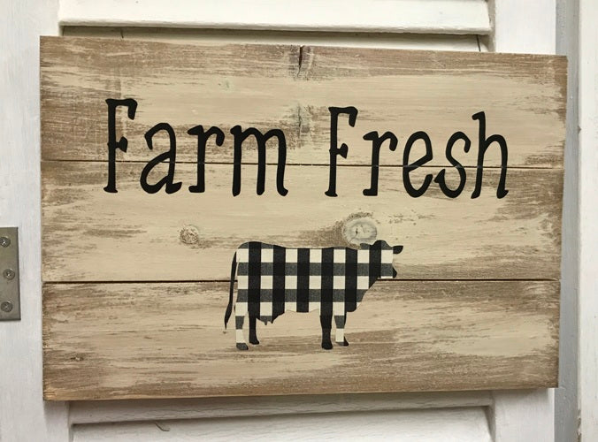 """Farm Fresh"" with Plaid Cow Distressed Wooden Sign - 21317"