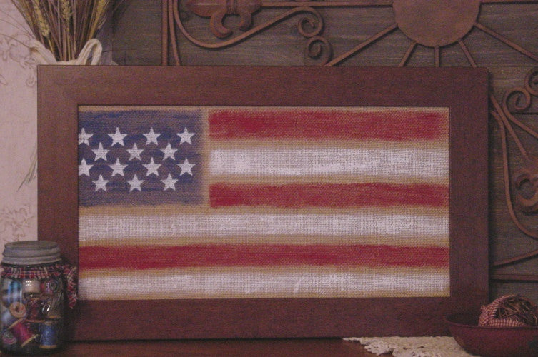 Americana Flag on Burlap w/brown Wood Look Frame - 10416