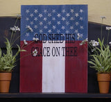 """God Shed His Grace On Thee"" Patriotic Wooden Sign - 22117"
