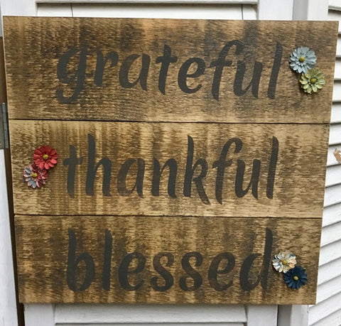 """grateful, thankful, blessed"" Brown/Grey Distressed Wooden Sign - 5418"