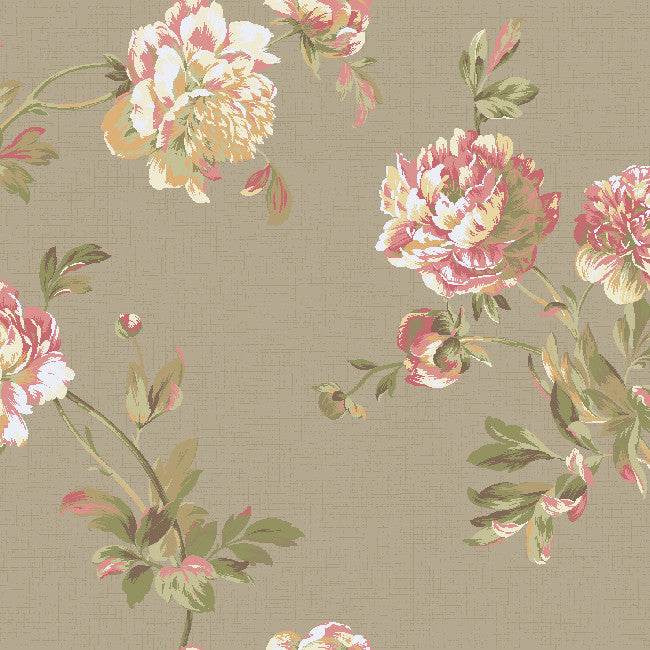 York Graystone Estate Whitworth Peony, Pearl/Blush Pink Wallpaper - HD6920