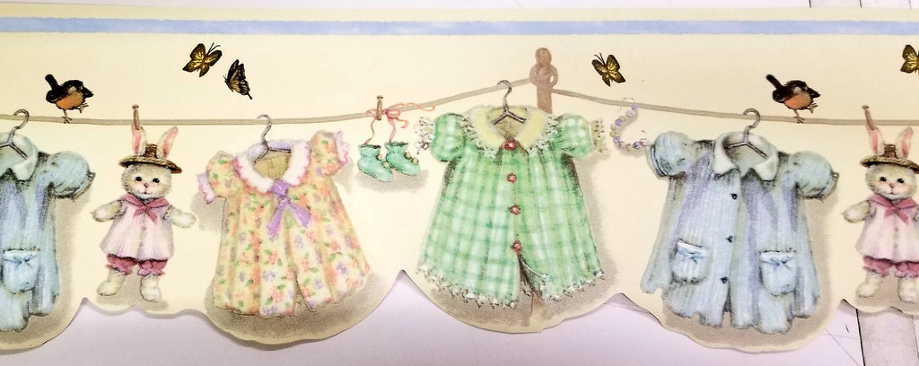 Nursery Clothes Line & Butterflies Wallpaper Border - HH30233B