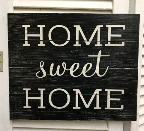 """Home sweet Home"" Black & White Distressed Wooden Sign - 41218"