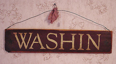"""Washin"" Burgundy/Brown Country Wooden Sign - 10101"