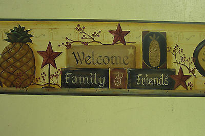 York Country Welcome Family & Friends (gold) Wallpaper Border - BG1624BD