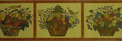 Brewster Traditional Fruit Basket Wallpaper Border - H3134B