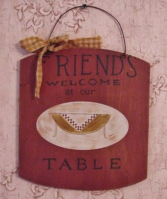 """FRIENDS Welcome at our TABLE"" Burgundy Kitchen Wooden Plaque - YWC59009"