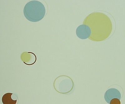 St. James Blue, Green and Brown Circle & Dot Wallpaper - BM9044