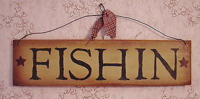 """FISHIN""  Brown/Black Fishing Wooden Sign - 1010"