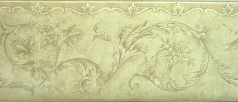 York Two Tone Brown Scroll Wallpaper Border - LE4403B