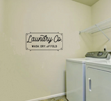 """Laundry Co. Wash, Dry, and fold"" Wall Sticker Vinyl Sticker"