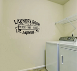 """Laundry Room wash dry fold repeat."" Wall Sticker Vinyl Sticker"