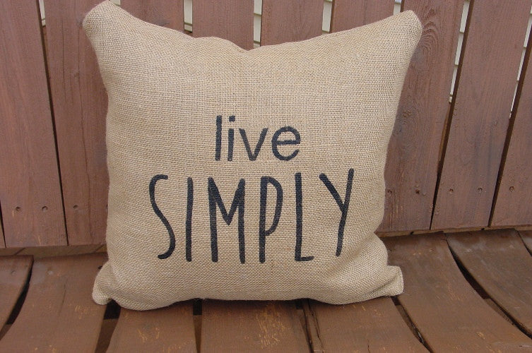 """live Simply"" Burlap Pillow - 1206"