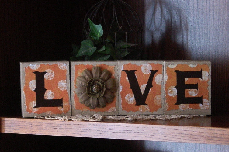 """Love"" Brown Distressed Wooden Blocks with Orange Polka Dot Brown Lettering  - Lve1"