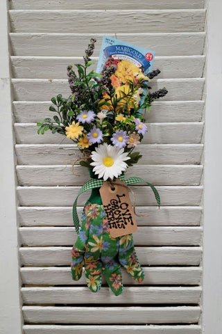 """Love Grows Here"" Marigold Flower Garden Glove Arrangement - Handmade"