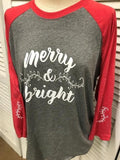 Merry & Bright Red/Heather 3/4 Sleeve Raglan Shirt
