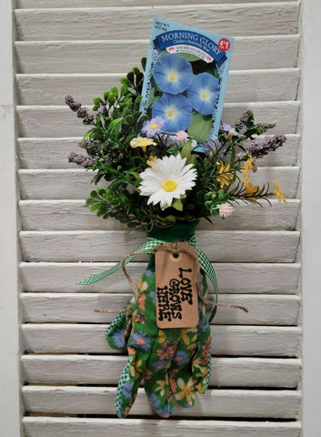 """Love Grows Here"" Morning Glory Flower Garden Glove Arrangement - Handmade"