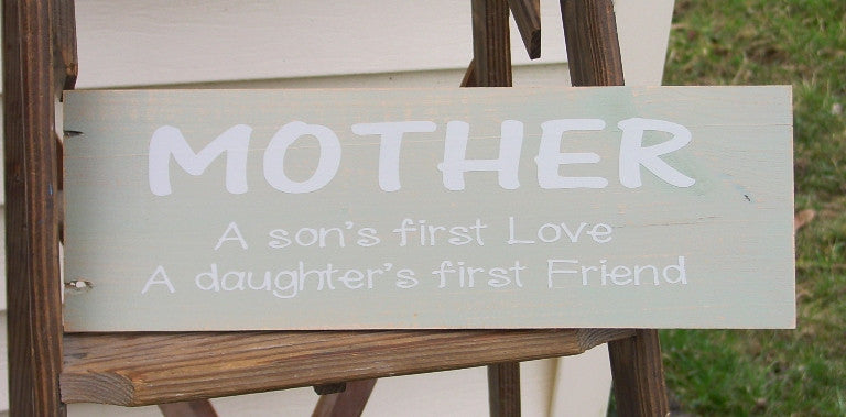 """MOTHER"" Distressed Celery Green/Cream Wooden Sign - 12917"