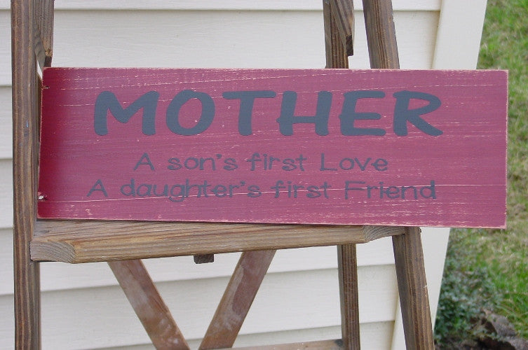 """MOTHER"" Distressed Brick Red/Black Wooden Sign - 12917"
