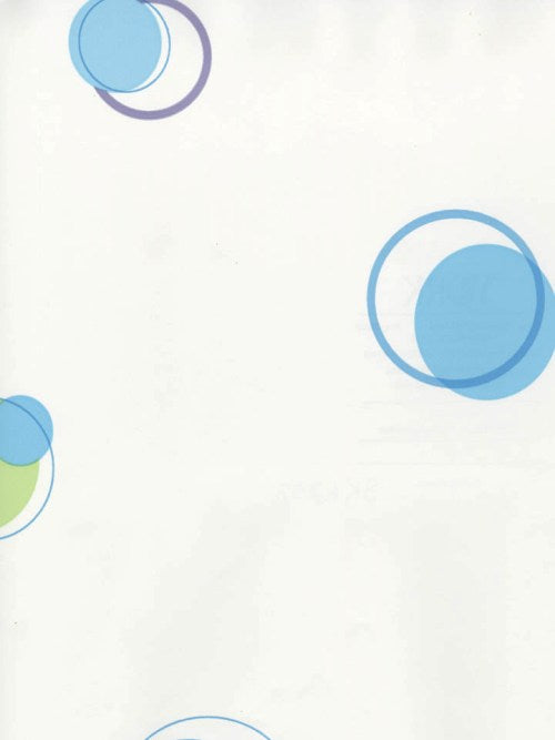 York St. James White, Blue and Green Dot & Circle Wallpaper - SK6207