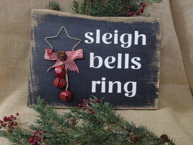 Sleigh Bells Ring, Star and bells Distressed Wooden Sign - 1028
