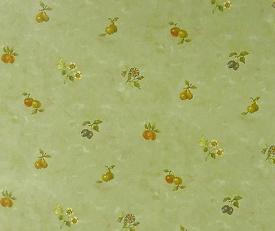 Beacon House Light Green Faux with Small Fruit Wallpaper - 22968