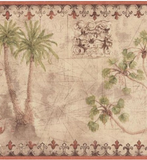 York Tropical Vintage Palm Tree (coral) Wallpaper Border - TG2132B