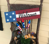 """Welcome"" Wooden Flag Sign - 53018"