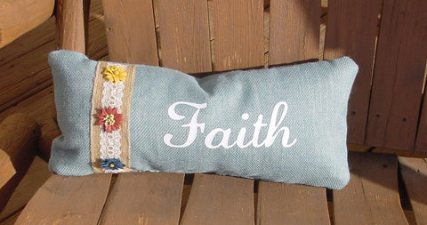 """Faith"" Rectangle Blue Burlap Pillow w/burlap Ribbon and Flowers - 11817"