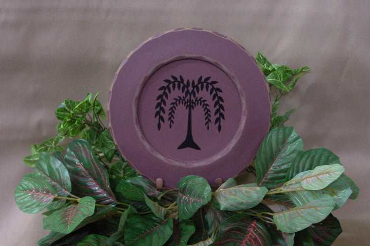 Willow Tree Small Distressed Decorative Wooden Plate - 28136A