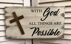 """With God"" White Distressed Wooden Sign with Wooden Cross - 92117"