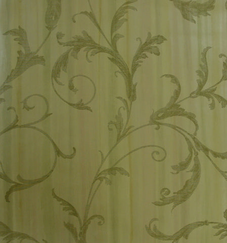 Ashford House Gold and Camel Leaf Scroll Wallpaper - YV9055