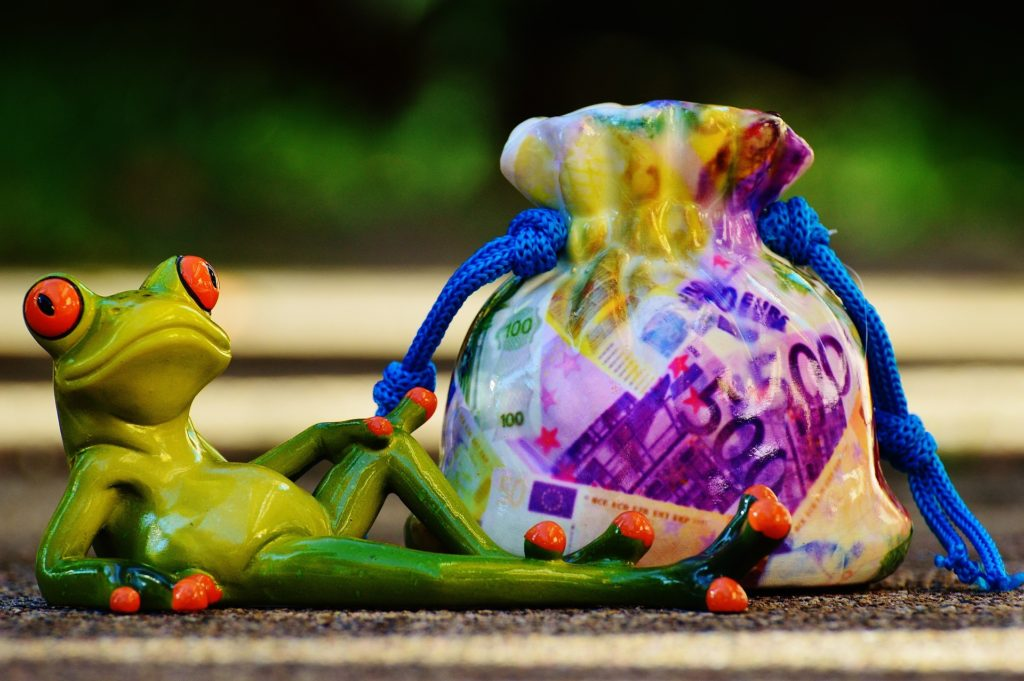 frog posing with money