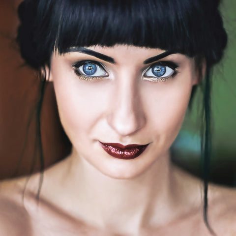 woman with dark lipstick