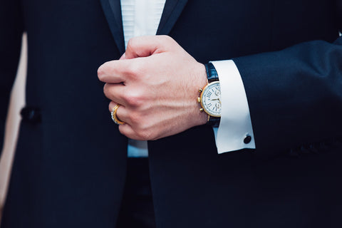 man in tuxedo with nice watch